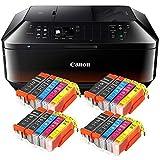 Canon Pixma MX725 MX-725 All-in-One Farbtintenstrahl-Multifunktionsgerät (Drucker, Scanner, Kopierer, Fax, USB, WLAN, LAN, Apple AirPrint) Schwarz + 20er Set IC-Office XL Tintenpatronen 550XL 551XL