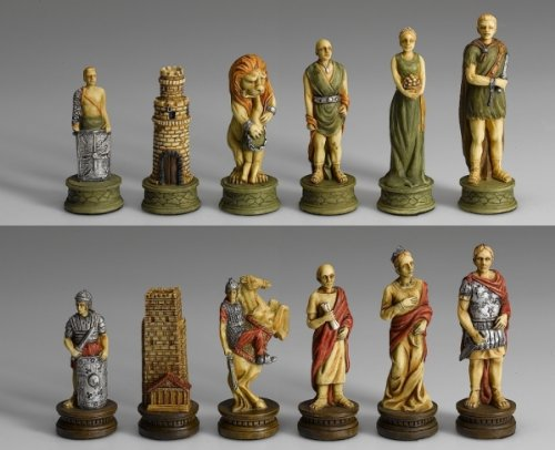 Schachfiguren Römer vs. Gladiatoren