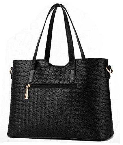 Tibes modo dell'unità di elaborazione della borsa del cuoio + Shoulder Bag + Purse 3pcs Bag Grigio