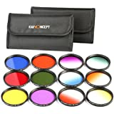 K&F Concept 52mm 12pcs Round Filter Set Include Full Color Filter Kit (Orange Blue Red Green Yelow Purple) + Graduated Filter Kit (Orange Blue Red Green Yelow Purple) for Nikon D5300 D5200 D5100 D3300 D3200 D3100 DSLR Cameras + Filter Pouch