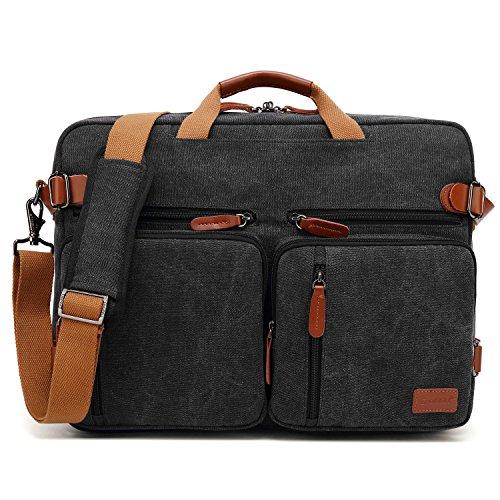 Coolbell maletin Hombre portatil Convertible en Mochila para Guardar Ordenadores portátiles Maletín de Negocios Mochila de Viaje para Guardar Ordenadores portátiles de 17,3 Pulgadas (Negro en Lienzo)