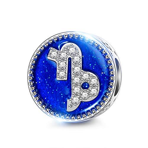 Ninaqueen capricorno 12 costellazioni donna bead charm argento sterling 925 zirconi cubici compatibile charm bracciale gioielli regali natale compleanno san valentino mamma moglie figlia sua
