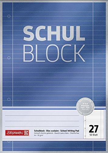 Brunnen 1052627 Schulblock / Notizblock Premium (A4, 50 Blatt, liniert, mit Randlinien, Lineatur 27, gelocht, kopfverleimt, 90 g/m²)