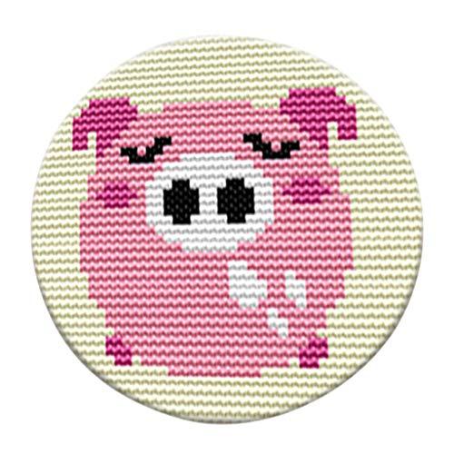 Baoblaze Knüpfteppich Formteppich Knüpfset für Kinder und Erwachsene zum Selber Knüpfen Teppich Rund, Latch Hook Rug Kit - Schwein