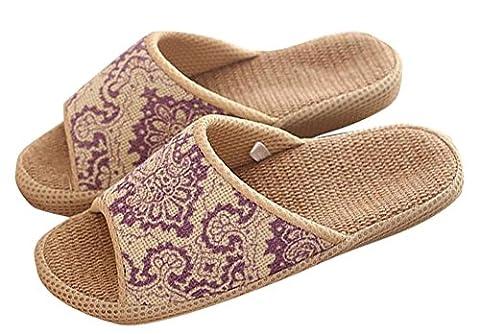 Ons Unisexe antidérapant antidérapant de lin bio Sac ouvert Sandales l'humidité Lin Chaussons d'intérieur ou d'extérieur Semelle en caoutchouc Style vintage ethnique Pantoufles pantofle, violet, uk 6.5-7.5