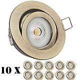 10er LED Einbaustrahler Set Messing mit LED GU10 Markenstrahler von LEDANDO - 7W - warmweiss - 30° Abstrahlwinkel - schwenkbar - 50W Ersatz - A+ - LED Spot 7 Watt - Einbauleuchte LED rund