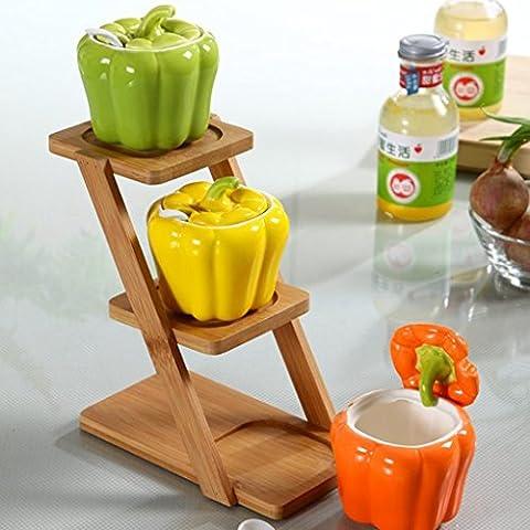 ZWX@ 1 Satz 3 Keramik Gewürzdosen Set Kreative Gewürze Dosen Würze Flaschen Küchenregallagerung ( größe : #4 )