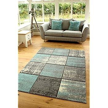 Designer Rug Modern Living Room Flowers Pattern Pastel Tones In Grey Blue Cream Size:60x100 cm