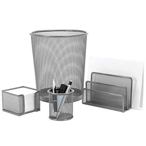 4 Teiliges Schreibtisch-set (Schreibtisch-Set Office 4-teilig, Metall (Grau))