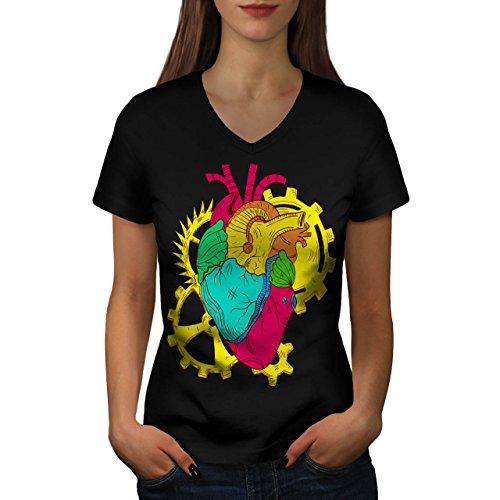 mecanicien-coeur-battre-la-vie-piece-femme-nouveau-noir-xl-t-shirt-wellcoda