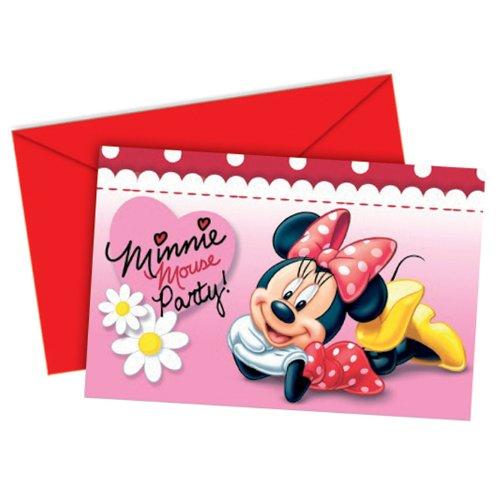 Cartes d'Invitation, de Minnie & pâquerettes, marguerites 6 pièces.