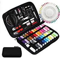 JUNING Sewing Kit with Case, 130 pcs Sewing Supplies for Home Travel and Emergency, Kids Machine, Contains 24 Spools of Thread of 100m, Mending and Sewing Needles, Scissors, Thimble, Tape Measure