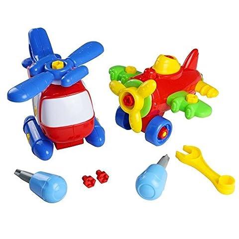 Jouets de Assemblage Montage jeu de Construction Avion Hélicoptère Bricolage Jouets pour Enfant Garçon Fille 3 Ans et Plus