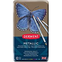 Derwent Metallic Watercolour Pencils, Traditional and Multicolour, Set of 12, Professional Quality, 0700456