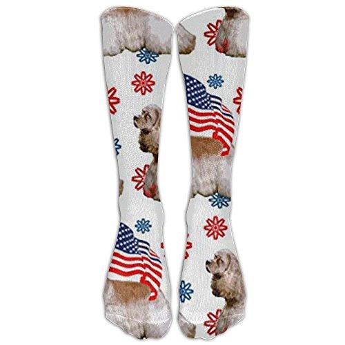Bag shrots Cocker Spaniel With FlagKnee High Graduated Compression Socks For Women And Men - Best Medical, Nursing, Travel & Flight Socks - Running & Fitness (Womens Bamboo Riding Boots)