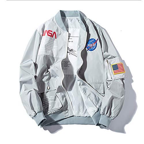 W&TT Frauen NASA MA-1 Bomberjacke Stickerei Patches Flug Lose Baseballuniform wasserdichte Windjacke S ~ 3XL,Gray,M