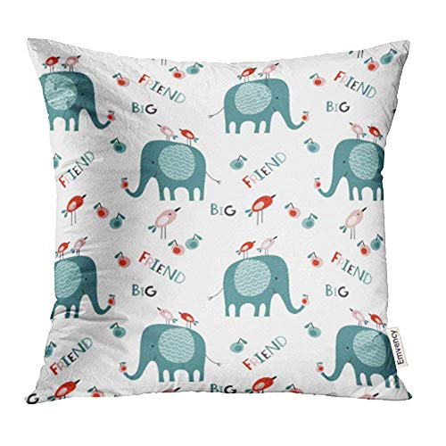 WBinHua Zierkissenbezüge, Throw Pillow Cases Covers Baby Pattern Many Big Elephants Little Birds and Apples on White Cartoon Print Pillowcases 18