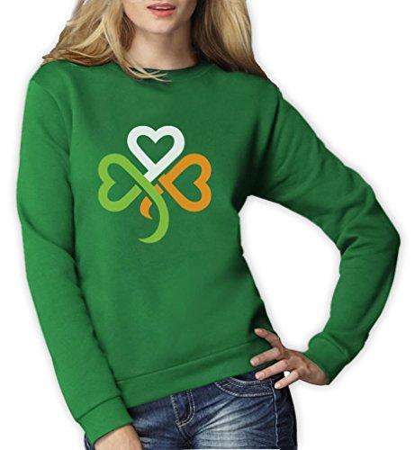 amrock Kleeblatt Irland Farben Frauen Sweatshirt Small Grün (St. Patricks Day Shamrock)