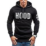 Switchali Herren Winter dünner Hoodie warmer Pullover Sweatshirt-mit Kapuze Mantel Outwear Oberseiten (L, Schwarz)