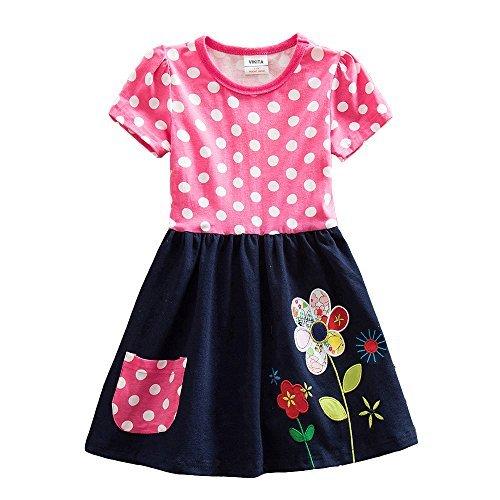 VIKITA Mädchen Sommer Blume Kurze Ärmel Baumwolle Freizeit Kleid SH5748 6T