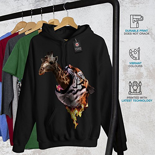 tigre Girafe Sauvage Animal Femme S-2XL Sweat à capuche | Wellcoda Noir