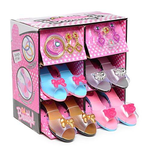 Fashionista Mädchen Prinzessin Dress Up and Rollenspiel Collection Schuhset und Schmuck Boutique (12 Teile) Alter 3-10 Jahre