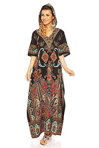Looking Glam Ladies Full Length Oversized Maxi Kimono Tunic Kaftan Dress with Hood