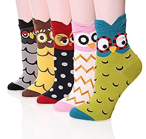 Women's Crew Socks 3-6 Pack by Ksocks, Fun Cool Cats Cartoon Sweet Animal Design Cotton Blend ( 5 owls