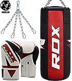 RDX Saco Boxeo Cuero Vaca Profesional SIN LLENAR Bolsas Boxeo 3FT MMA Relleno Pesado Wall Kick...