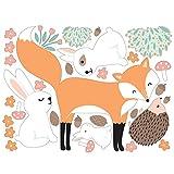 Bilderwelten Fenstersticker Folie Forest Friends mit Hasen Igel und Fuchs Fensterbild 28x37cm