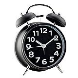 Jinberry Retro Wecker/glockenwecker / Vintage Tischuhr mit Licht Nachtlicht, 4 Zoll Lautlos Analog Quarz Ohne Ticken Schleichende Sekunde Alarm Clock - Schwarz