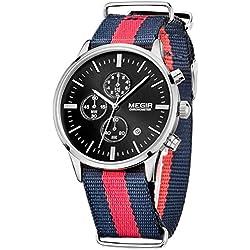 Megir Mens Sport Luminous Canvas Strap Quartz Watches