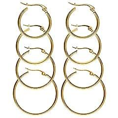 Idea Regalo - 4 Paia Orecchini in Acciaio Inox Orecchini a Cerchio Argento Oro Oro-rosa, 4 Taglie, Set Orecchini Rotondo-Oro