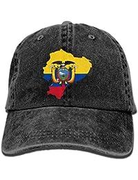 Bgejkos Hombres Mujeres Gorra Bandera Ecuador Unisex Gota de béisbol Plana  Hip Hop Gorra de béisbol Desgaste de… 19f479e241d