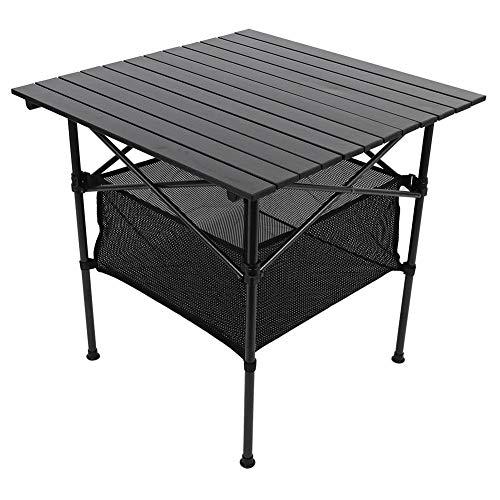 AYNEFY Alu Klapptisch,70 * 70 * 70 cm Tragbar Campingtisch Tisch Falttisch Aluminium Campingtisch Klapptisch mit Aufbewahrungstasche Falttisch für Outdoor Karten und Picknicks (Schwarz)