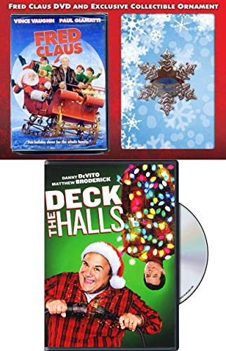 Two Neighbors that Deck the Halls & Santa's brother Naughty Ornament Exclusive Fred Claus Snowflake + DVD Movie Holiday Bundle Modern Classic Comedy Double Feature Christmas Holiday Pack