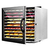 ZYFA Commercial Stainless Steel Food Dehydrator-for Jerky,Fruit,Vegetables&Nuts,10 Drying Shelf,24 h Adjustable Timer