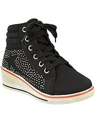 Filles Enfants Chaussures Semelle Compensée Escarpins Talon Haut À Lacets Bottine Diamant Baskets Taille
