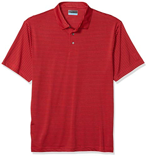 PGA TOUR Herren Short Sleeve Feeder Stripe Polo Golf-T-Shirt, rot, Groß