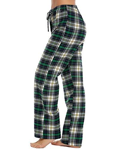 ADOME Damen Schlafanzughose Kariert gedruckt Hose Lang Pyjamahose Schlafhose Pants Sleep Baumwolle Grün515