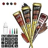 Janolia Kit di Tatuaggi, 4 Coni & 3 Colori Sicuro e Impermeabile Tatuaggio di Pittura, 20pcs Modello Adesivo, 1 Bottiglia, 4pcs Ugelli (2 Nero, 1 Marrone, 1 Rosso)