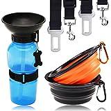 2 verstellbare Hunde-Sicherheitsgurte von Eshylala, 2klappbare Silikon-Schalen mit Wasser-Trinkflasche für die Autoreise