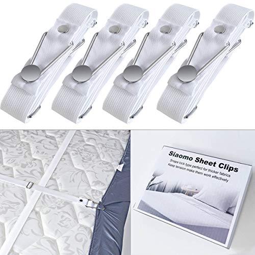 Siaomo Betttuchspanner Bettlakenspanner für Dicke Bettlaken,Sofaüberwurf,4 Stück Elastische Verstellbare Lang Bettlakenspanner Weiß (Baumwolle-wolle-halter)