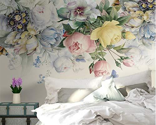 Tapete, handgemalte vintage rose wandbild tv bett kopf hintergrund wand 3d tapete dekoration papier, 300 * 210cm -