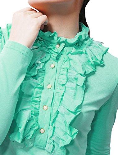sourcingmap® Allegra K Damen Rüsche Stehkragen Langarm Knopf Top Bluse Shirt Grün