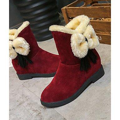 Rtry Femmes Chaussures Pu Confort Hiver Bottes De Neige Plat Talon Bottes Bout Rond Mi-mollet Bottes Bowknot Pour Casual Vin Noir Us6 / Eu36 / Uk4 / Cn36