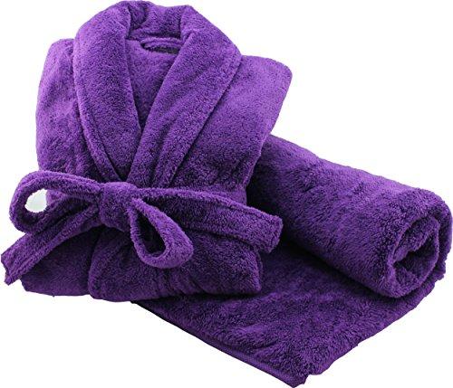 Bademantel & Badetuch Microfaser Morgenmantel, Saunamantel & passendes Badetuch für Damen und Herren - Unisex in 3 Farben und 4 Größen - Badetuch 80 x180 von Brandsseller - lila - XL