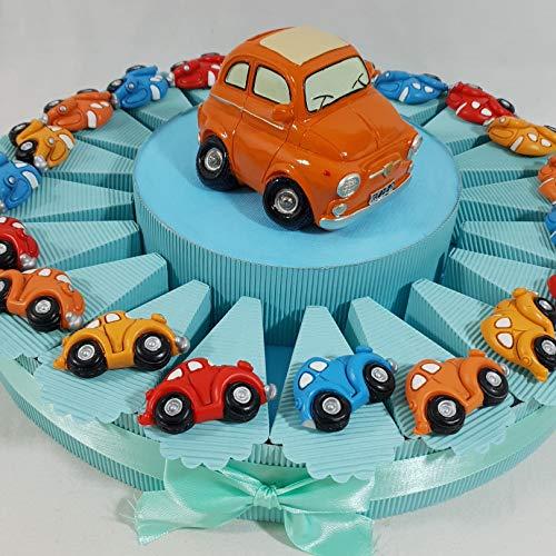 Sindy bomboniere 8054382130 torta bomboniera macchine auto magnete, salvadanaio e confetti inclusi, resina, celeste, 4 x 3 x 5 cm