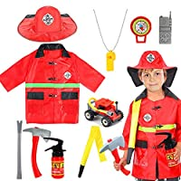 vamei Fireman Costume Outfit Fire Chief Role Play Dress Up Set Firefighter Toys for Halloween Party Christmas 2 3 4 5 6 7 Year Old for Kids Boys Girls Pretend Play Cosplay Party