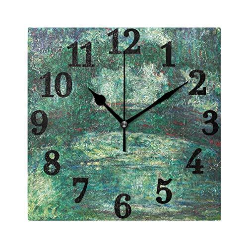 Ahomy Wanduhr Japanische Brücke Monet Kunst Ölgemälde Home Art Decor Antiticking Ziffern Uhr für Home Office Schule -